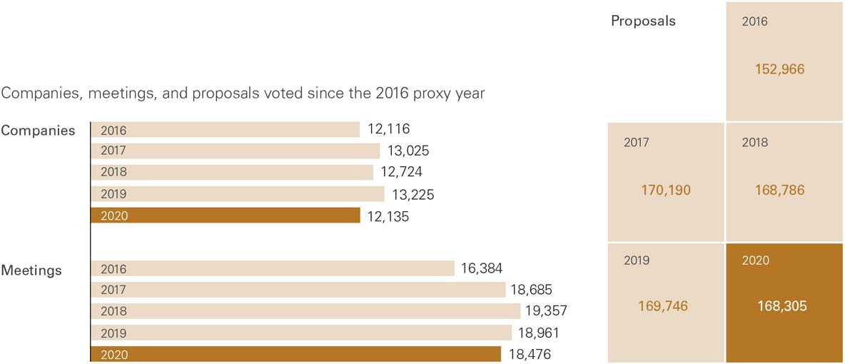Companies, meetings, and proposals voted since the 2016 proxy year